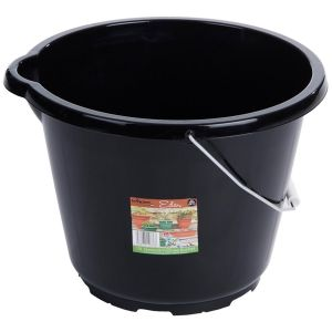 Wham 12 Litre General Purpose Plastic Bucket with Metal Handle, Black