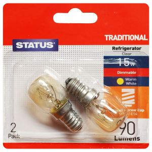 Status E14 SES 15 Watt Fridge and Freezer Bulbs, Pack of 2