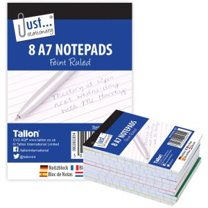 Just Stationery A7 100 Page Feint Ruled Notepads - Pack of 8