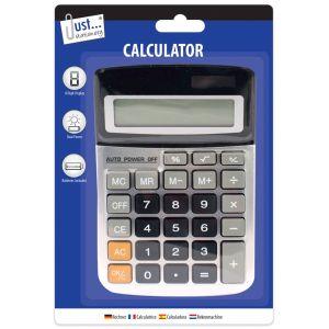 Just Stationery Dual Powered Midi Desktop Calculator, Black/Silver