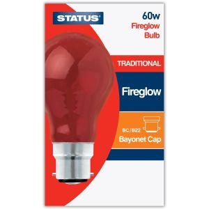 Status B22 BC 60 Watt GLS Traditional Red Fireglow Light Bulb