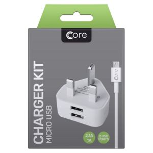 Core Android Dual Port USB Power Adaptor with Micro-USB Cable