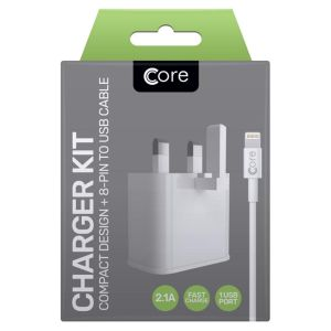 Core iPhone Compact Retracting Fast Charge Travel Charger & Lightning Cable Kit