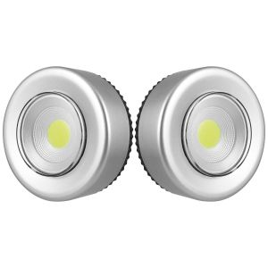 Uni-Com COB LED Push Lights, Silver - Pack of 2