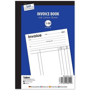 Just Stationery Full Size Duplicate Invoice Receipt Book, 80 Numbered Pages