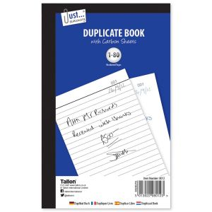 Just Stationery Full Size Duplicate Book, 80 Numbered Pages