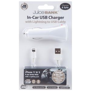 Juice Bank iPhone Lightning to USB In-Car Charger with Charge & Sync Cable