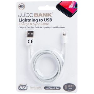 Juice Bank iPhone Lightning to USB Charge & Sync Cable, 1 Metre