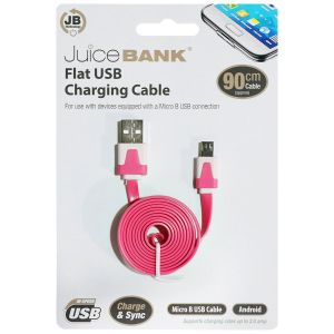 Juice Bank Flat USB to Micro-B USB Charge Cable, 90 cm