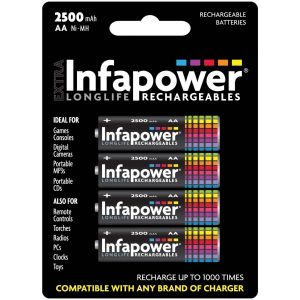 Infapower Pre-Charged AA Ni-MH High Capacity Rechargeable Batteries, 2500 mAh - Pack of 4