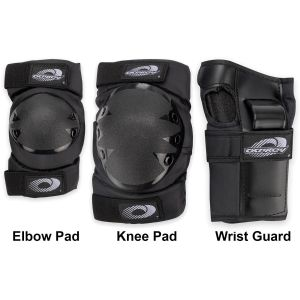 Osprey 6pc Elbow, Knee & Wrist Protective Skate Pad Set, Black