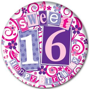 Simon Elvin Sweet 16 Happy Birthday Teenagers Birthday Jumbo Badge, 15cm - Girls