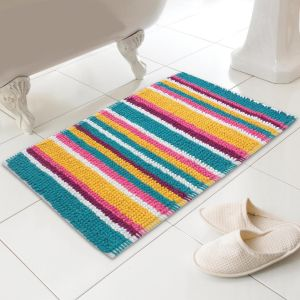 Country Club Micro Bobble Striped Bath Mat - Multi
