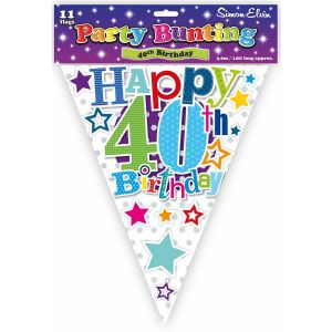 Simon Elvin Happy 40th Birthday Foil Party Bunting - Unisex