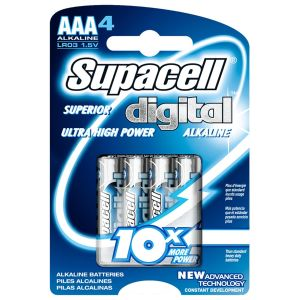 Supacell Digital Alkaline AAA Batteries - Pack of 4