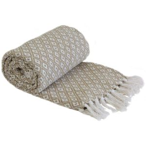 Emma Barclay Casablanca Scandi Woven 100% Recycled Cotton Throw, Taupe