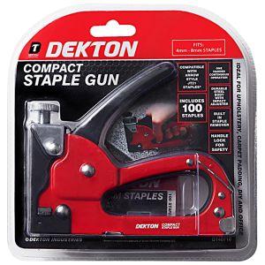 Dekton Compact Staple Gun with 100 Staples, Red