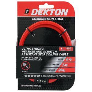 Dekton Self Coiling Combination Bike Lock, Red