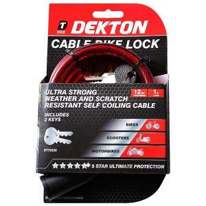Dekton Self Coiling Cable Bike Lock, Red