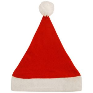 Unbranded Plain Father Christmas Santa Hat with Bobble