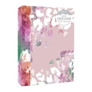 Home Collection Pink Floral 4 x 6 Inch Slip In Photo Album, Holds 80 Photos