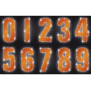 Hi Vis Reflective Wheelie Bin Numbers Self Adhesive Stickers, Orange