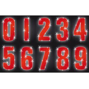 Hi Vis Reflective Wheelie Bin Numbers Self Adhesive Stickers, Red