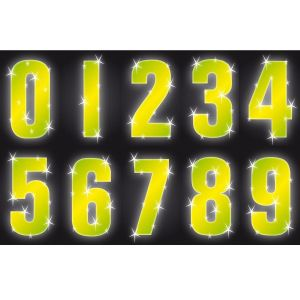 Hi Vis Reflective Wheelie Bin Numbers Self Adhesive Stickers, Yellow