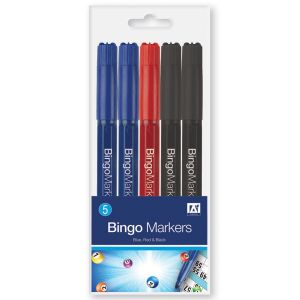 A Star Bingo Marker Pens, Black, Blue and Red - Pack of 5