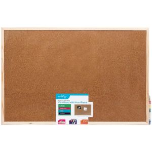 Ashley Housewares Cork Memo Notice Board with Wood Frame - 600x400mm