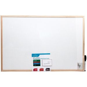 Ashley Housewares Dry Erase Wipe Memo Board with Wood Frame, White - 600x400mm