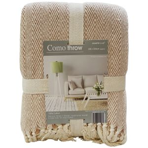 Country Club Como Herringbone Throw, Natural, 228 x 254 cm
