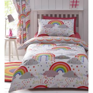 Kids' Club Clouds & Rainbows Duvet Cover and Pillowcase Set, Multi - Single