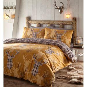 Portfolio Tartan Stag Duvet Cover and Pillowcase Set, Mustard