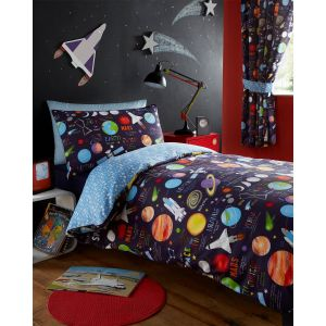 Kids' Club Planets Duvet Cover and Pillowcase Set, Multi - Single