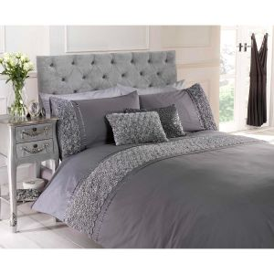 Belle Maison Limoges Rose Ruffle Duvet Cover and Pillowcase Set, Grey