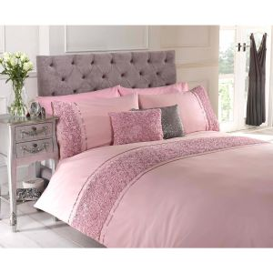 Belle Maison Limoges Rose Ruffle Duvet Cover and Pillowcase Set, Pink