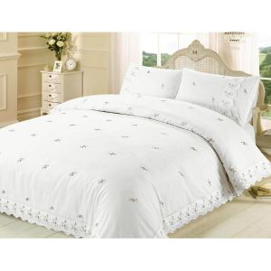 Belle Maison Sophie Lace Embroidered Duvet Cover and Pillowcase Set, White