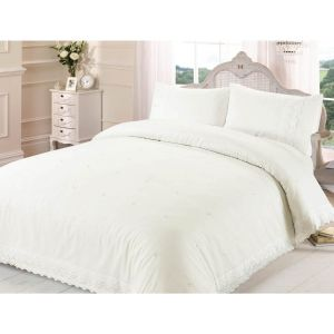 Belle Maison Victoria Lace Embroidered Duvet Cover and Pillowcase Set, Cream