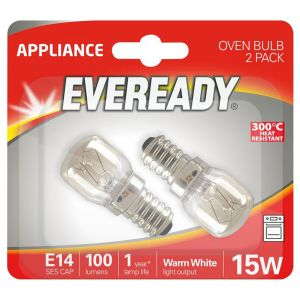 Eveready E14 SES 15 Watt Oven Light Bulbs, Pack of 2