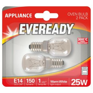 Eveready E14 SES 25 Watt Oven Light Bulbs, Pack of 2