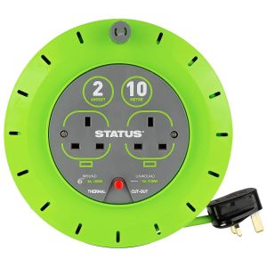 Status 2 Socket 13 Amp Cable Cassette Reel with Thermal Cut Out - 10 Metre
