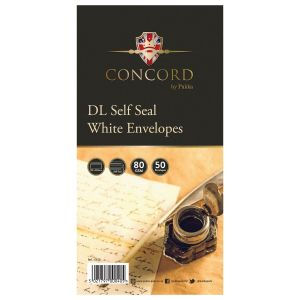 Concord Self Seal White DL Envelopes - Pack of 50