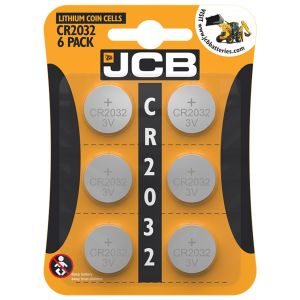 JCB 3V Lithium CR2032 Coin Cell Batteries - Pack of 6