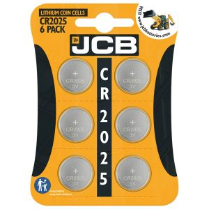 JCB 3V Lithium CR2025 Coin Cell Batteries - Pack of 6