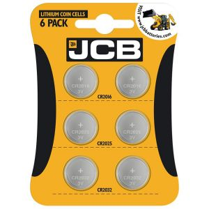 JCB 3V Lithium CR2016 CR2025 CR2032 Coin Cell Batteries - Multi Pack of 6