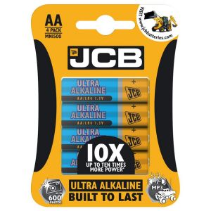 JCB Ultra Alkaline AA Batteries - Pack of 4