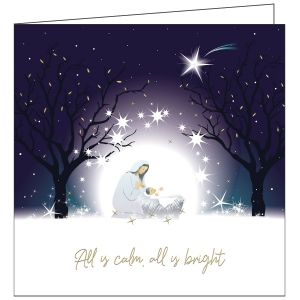 Collisons All Is Calm Foil Luxury Christmas Cards - Pack of 10