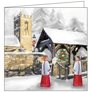 Collisons Winter Church Luxury Christmas Cards - Pack of 10