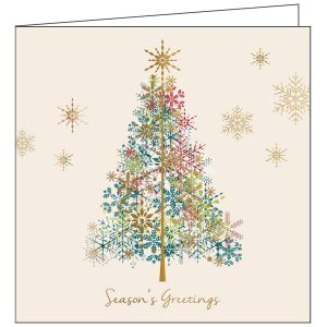 Collisons Season's Greetings Tree Luxury Foil Christmas Cards - Pack of 10